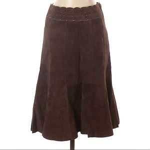 Cabi Leather Suede Skirt